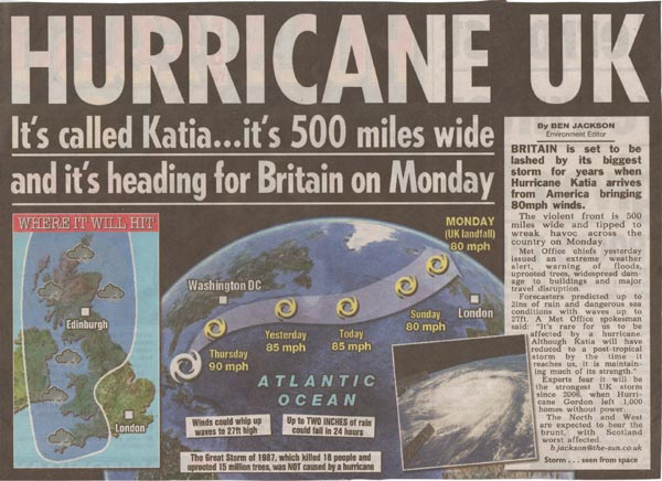 Hurricane Newspaper Clipping