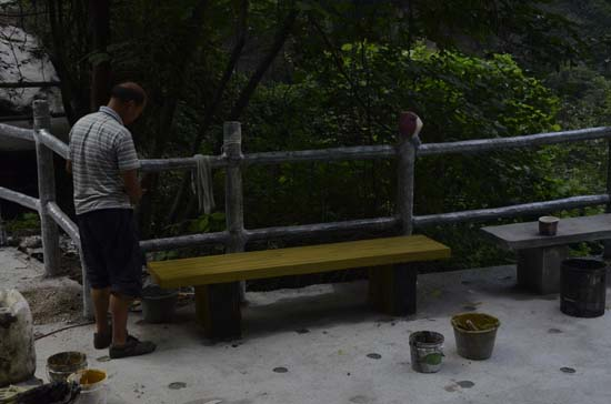 Log effect bench on huashan