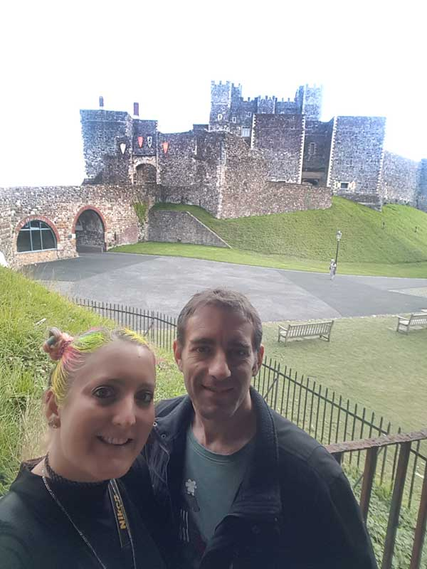 Tony and Roo in front of castle